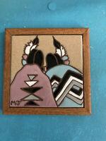 Native American Handpainted Framed Tile Mary Jane Balok Utah SouthWest Folkart
