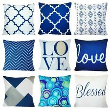 Cushion COVER Navy Blue White Home Decor Decorative Bed Throw Pillow Case 18x18