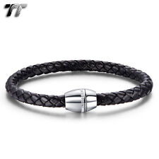 TT Black Leather With Stainless Steel Crystal Magnet Buckle Bracelet (BR201) NEW
