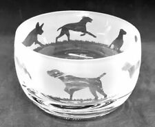 More details for german shorthaired pointer frieze 12cm boxed crystal glass bowl