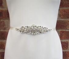 Ivory Pearl Silver Diamante Wedding Dress Belt Crystal Sash Gatsby 1920s 5503