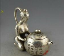 Chinese Collectible Tibetan silver Copper Naked Statue Flower Decor Noble Teapot