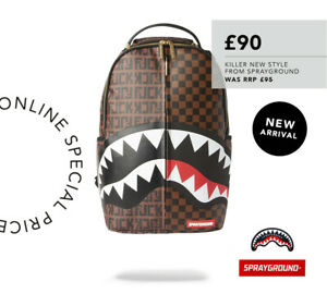 SPRAYGROUND SPLIT THE CHECK BACKPACK BROWN ** RRP £95.00 **