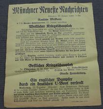 1. WK Plakat Tagesaufruf Aufmacher Münchner Zeitung Verdun, U-Boot