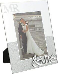 "Juliana Mirror Wedding Frame with Glitter Mr & Mrs 5"" x 7"" New"