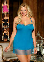 Shirley of Hollywood Jersey Knit Chemise with Lace Trim and G String, Plus Size