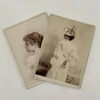 Antique Cabinet Card Photo Beautiful Fashionable Young Woman Big Hat Flowers