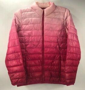 Jackson Hole Women's Outerwear Lightweight Puffer Jacket Full Zip Pink Ombré L