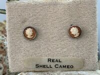 Vintage Sterling Silver Real Shell Cameo Stud Earrings