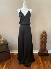 H&M Black Evening Gown Silver Chain Straps Deep V-Neck Maxi Satin Long Dress