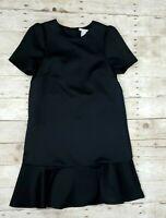 H&M Women's 6 Satiny Black Short Sleeve Zip Back Knee Length Ruffle Shift Dress
