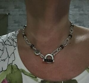"Judith Ripka smokey quartz toggle station necklace 18"""