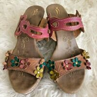 Spring Step Womens Sandal Pink Leather Slip On High Heel Shoe Flower EU 37  US 7