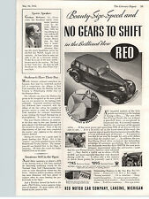 1934 Paper Ad Car Auto Automobile Reo Flying Cloud No Gearshift Lever Lansing MI