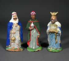 "Vintage French Hand-Painted Terracotta  Santons From Provence, ""Wise Men"""