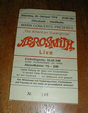 AEROSMITH 1976 Offenbach, Germany CONCERT TICKET STUB