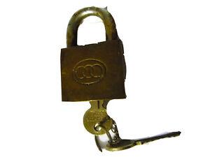 "Padlock vintage working with keys 2 "" wide reclaimed steampunk big sturdy"