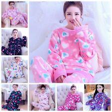 Winter Women Pajamas Coral Fleece Sleepwear Warm Bathrobe Nightgowns Pyjamas Set