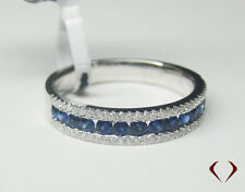 0.66CT Sapphire and Diamond Band 18KT White Gold