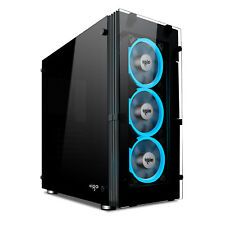 Aigo Atlantis ATX Mid Tower Computer Gaming PC Case With 5pcs ICE Blue Fans