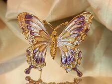 So Sweet Vintage 1980's Lavender & Dark Purple Butterfly Gold Tone Brooch 210m7