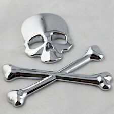 New SUV Body Fender Tank Cover Chrome Metal 3D Skull Head Crossbone Logo Sticker