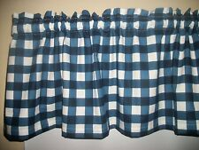 Navy Blue White Buffalo Checked Checks fabric curtain topper Valance