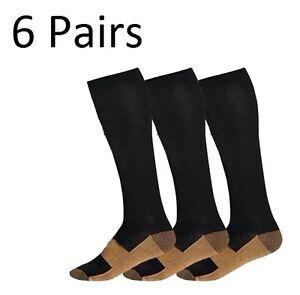 (6 Pairs) Copper Compression Socks 20-30mmHg Graduated Support Mens Womens S-XXL