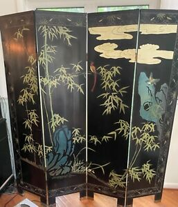 Oriental Asian 4 Panel Room Divider/ Screen.Double Sided. Wood And Lacquer.