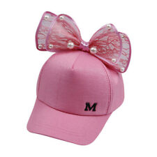 Kids Children Girls Pearl Bowknot Bongrace Hat Peak Streak M Baseball Cap Sunhat