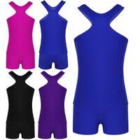 Girls Sports Dance Outfits Crop Top+Shorts Leotard Gymnastics Dancewear Swim Set