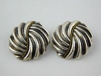 Vintage Taxco Mexico Sterling Silver Swirled Shape Clip On Earrings 925