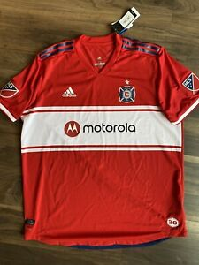 ADIDAS AUTHENTIC MLS TEAM JERSEY CHICAGO FIRE MOTOROLA RED MEN'S SIZE 2XL NWT