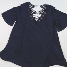Xhilaration Womens Short Sleeve Lace- Up T-shirt Navy Blue Size Small crochet