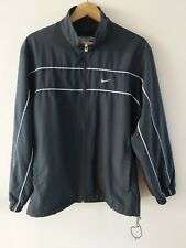 VTG Nike Men Track Jacket Mesh Lining SZ Small Black Full Zip Striped Sleeve
