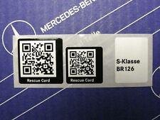 Original Mercedes Aufkleber Rescue Card QR-Code für W126 Limousinen