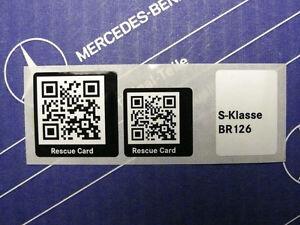 Mercedes Aufkleber Rescue Card QR-Code für W126 Limousinen