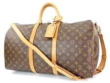 Authentic LOUIS VUITTON Keepall Bandouliere 50 Monogram Canvas Duffel Bag #32477