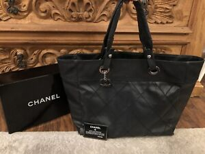 Authentic CHANEL Matelasse Large Black Nylon Leather Quilted Tote Bag-$5500