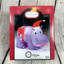 New ListingGemmy Hippo Airblown Inflatable Christmas Yard Decoration Santa Hat Purple New