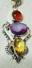 Artisan Crafted Purple Titanium Crystal Agate Druzy Citrine Garnet Pendant...
