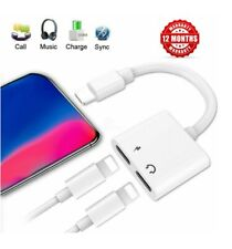 2in1 Dual Lightning Adapter Splitter Audio Earphone AUX Charger For Apple iPhone