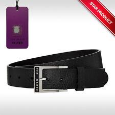 "TED BAKER London 'Mesden' Mens Black Leather Enamel Logo Buckle Belt - Size 32"""