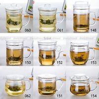 Various Shaped Heat Resistant Glass Clear Office Tea Cups Teapots w/ Infuser Lid