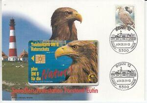 Telefonkartenbrief - Seeadlerschutzstation Forstamt Eutin  1991