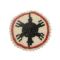 "Beaded Turtle Rosettes 2"" Bead Work Decorative Applique Leather Crafts Medallion"