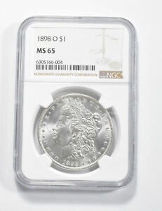 MS65 GRADED - 1898-O Morgan Silver Dollar- NGC *323