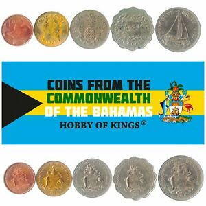 5 BAHAMIAN COINS. OLD DIFFERENT COLLECTIBLE CARIBBEAN MONEY FOREIGN CURRENCY