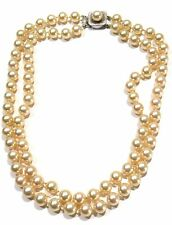 "Vintage Carlos Garcia Madrid Majorica Pearl Double Strand Choker Necklace 17.5"""