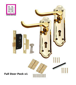 Door Handles Brass Lock Handles Ashford Ashworth Style Scroll Handle & Lock set